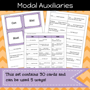 Modal Auxiliary Verbs Game/Sort Pack (INC. DIGITAL VERSION)
