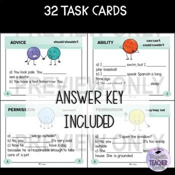 Modal Auxiliary Verbs Grammar Task Cards 3 #ellthanksgiving