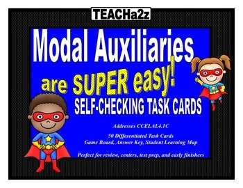 Modal Auxiliary Verbs Task Cards - 50 Differentiated Task Cards!