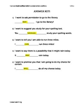 Modal Auxiliary Verbs Worksheet/Assessment