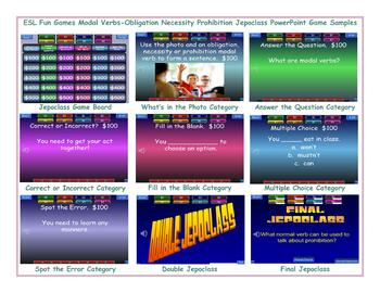 Modal Verbs-Obligation Necessity Prohibition Jeopardy PowerPoint Game