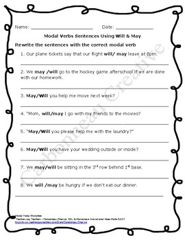 Modal Verbs Worksheets BUNDLE - UPDATED