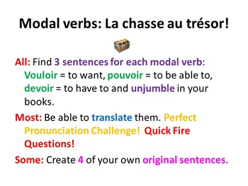 French Teaching Resources. Modal Verbs and Invitations Treasure Hunt Activity.