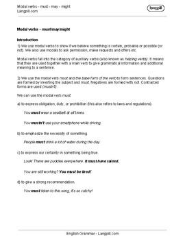 Modal Verbs Handout & Worksheets | Teachers Pay Teachers