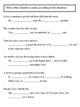 Modal verb practice activity pack