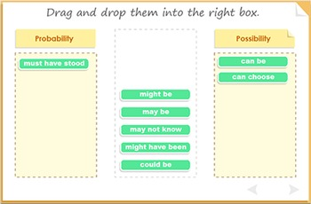 Modal verbs for probability - can, could, must.