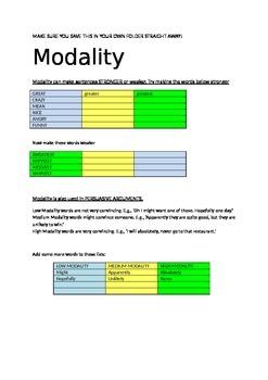 Modality worksheet
