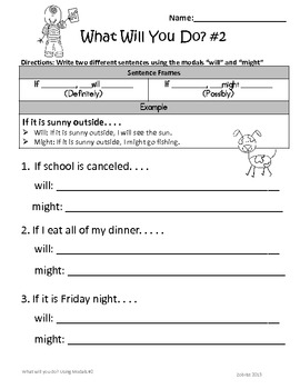 Modals: 2nd-3rd Grade Common Core Differentiated Practice Packet