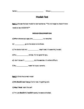 Modals exam