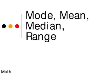 Mode, Mean, Median, Range Power Point Presentation
