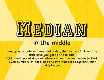 Mode, Median, Mean, & Range Posters