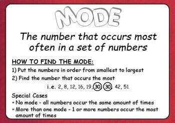Mode, Median, Mean and Range Posters
