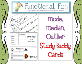Mode, Median, Outlier Study Buddy Cards