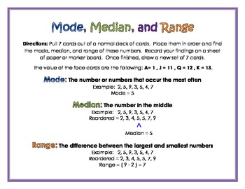 Mode, Median, and Range Card Game