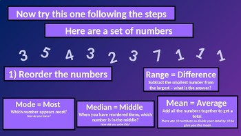 Mode (Most), Mean (Average), Median (Middle) and Range (Difference) in Numbers