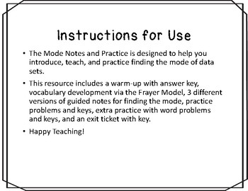 Mode Notes and Practice Resources