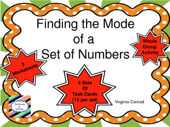 Mode:  Task Cards and More For Finding the Mode of a Set o
