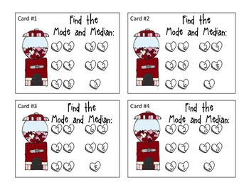 Mode and Median Task Cards (Valentines)