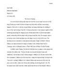 Model Analytical essay and body paragraphs -- MLA format