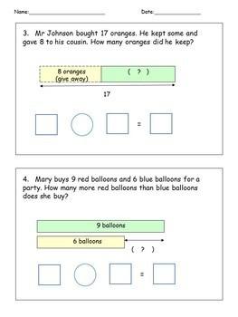 Addition Subtraction Solve Word Problems Math Worksheets Bar Model/Tape Diagram