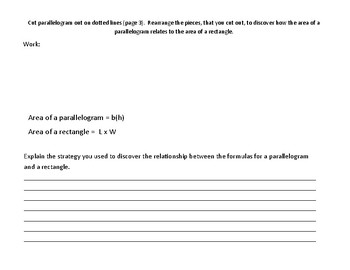 Model Area Formulas: Rectangle and Parallelogram