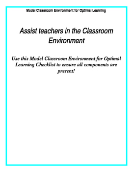 Model Classroom Environment for Optimal Learning