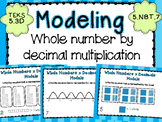 Model Decimal by Whole Number Multiplication Task Cards CCSS 5.NBT.7 TEKS 5.3D