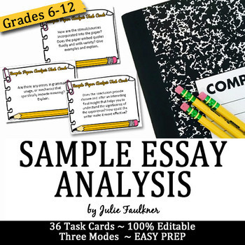 Task Cards for Model Essays Analysis, Peer or Self Evaluation, Any Mode