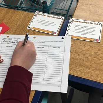 Sample Essays Analysis Task Cards, Peer or Self Evaluation, Any Mode