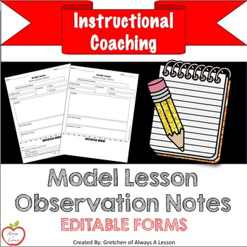 Instructional Coaching: Model Lesson Observation Notes