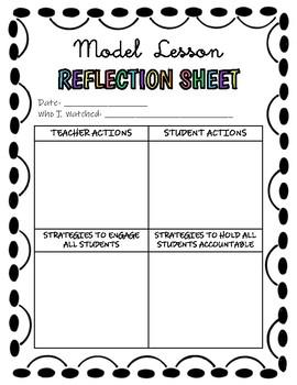 Model Lesson Reflection Sheet (Instructional Coaching Tool)