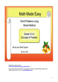 Model Method - Practice - Concept of Fraction for Grade 3, 4 and 5