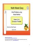 Model Method - Practice - Concept of Fraction for Grade 3,