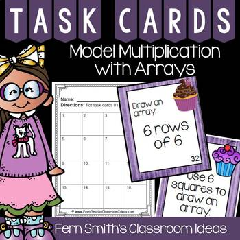 3rd Grade Go Math 3.5 Model Multiplication with Arrays Task Cards
