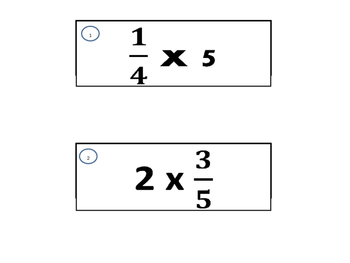 Model Multiply Fractions by Whole Numbers Stations