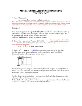 Model Quadratic Functions on Graphing Calculator for High School Math