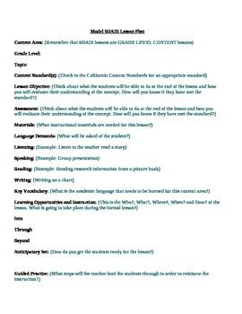 Model SDAIE Lesson Plan