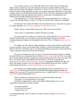 Model Student Essay to Teach Showing vs. Telling Emotions