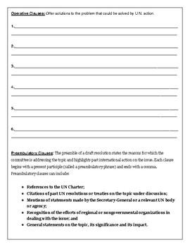 Model United Nations Resolution Worksheet
