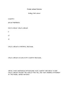 Model United Nations- ending child labour planning sheet