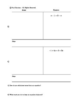 Model and Solve Equations with Variables on Both Sides