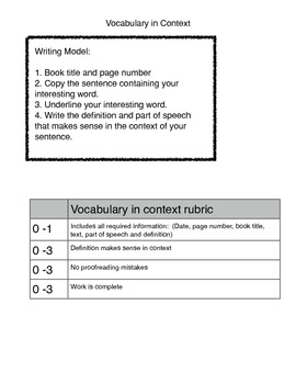 Model and rubric for using vocabulary in context
