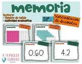 Model decimals match game in Spanich (juego memoria modelo