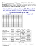 Model multiplication of fractions activity with a rubric