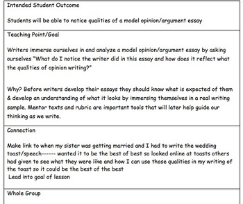 Model/Mentor Opinion or Argument Writing Essay and Lesson