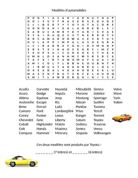 Modele automobile mot caché (Car wordsearch in french)