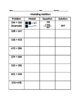 Modeling 3 Digit Addition