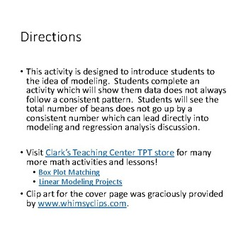 Linear Modeling Activity  (CCSS.HSF.LE.A.1)