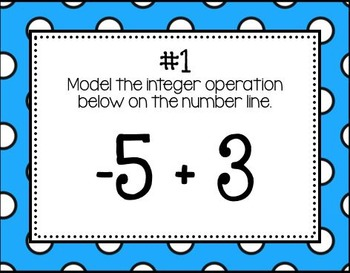 Modeling Addition & Subtraction of Integers on the Number Line (Task Cards)