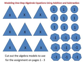 Modeling Balancing Equations - One Step